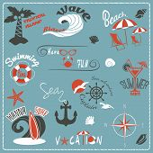 Summer retro emblems