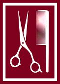 icon with barber scissors and comb
