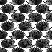 Design Monochrome Seamless Diagonal Pattern. Funny Hedgehogs Background