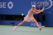 Professional tennis player Caroline Wozniacki during third round match at US Open 2014
