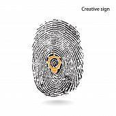 Creative Light Bulb With Fingerprint Symbol