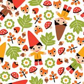 Seamless colorful kids fall gnome forest woodland illustration background pattern in vector