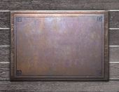Steel Picture Plate On Wood With Old Wood Texture