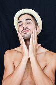 Handsome Man Half Naked On Black Background