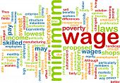 foto of sweatshop  - Word cloud concept illustration of minimum wage - JPG