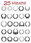 Laurel wreath icons set
