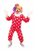 Full length portrait of a male clown gesturing with hands isolated on white background
