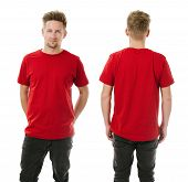 foto of t-shirt red  - Photo of a man wearing blank red t - JPG