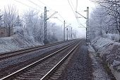 Railroad tracks in winter fog