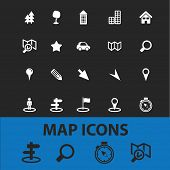 map, navigation, route isolated icons, signs, vectors, illustrations, silhouettes set, vector
