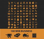 100 internet web business isolated icons, signs, vectors, illustrations, silhouettes set, vector