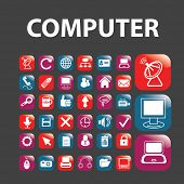 computer isolated glossy buttons, icons, signs, vectors, illustrations, silhouettes set, vector