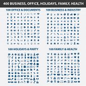 400 business, office, holidays, family, health, travel isolated icons, signs, vectors, illustrations, silhouettes set, vector