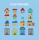 flat houses, buildings isolated icons, signs, illustrations, silhouettes, vectors set
