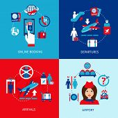 stock photo of mass media  - Airport online booking departures arrivals flat icons set isolated vector illustration - JPG