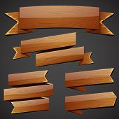Set of vector wood banners