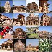 image of karnataka  - Beautiful collage of Hampi Karnataka India in many photos - JPG