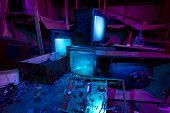Light Painted Abandoned Cinema Studio. 3 Crashed Tv Sets Still Shining
