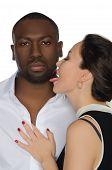 Asian Woman Licks His Cheek Dark-skinned Men