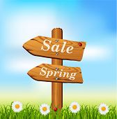 Wooden Sign with spring season text. Vector