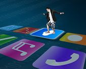 Man Standing On Shiny Cloud Icon With Colorful App Buttons