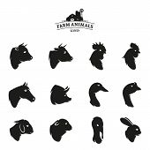 stock photo of working animal  - Farm animals icons collection - JPG