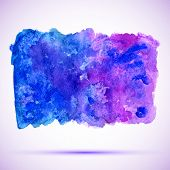 watercolor ultramarine and violet grunge background banner with shadow