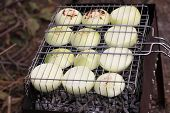 Slices Of Onions On Barbecue Grill