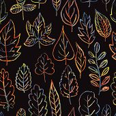 seamless pattern with autumn and summer leaves