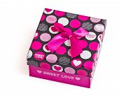 Gift Box With Pink Ribbon On White Background