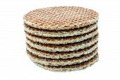 Caramel Wafers In A Pile