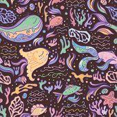 Marine life vector pattern