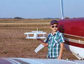 Little Boy Pilot With Handmade Plane