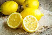 Fresh Juicy Lemons On Sacking