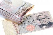 Vintage Italian Banknotes  And Euro Money