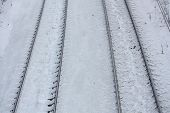 Close Up Of Railroad In Winter