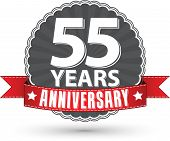 Celebrating 55 Years Anniversary Retro Label With Red Ribbon, Vector Illustration