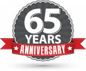 Celebrating 65 Years Anniversary Retro Label With Red Ribbon, Vector Illustration