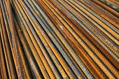 image of reinforcing  - Stack of the metal rusty reinforcement bars - JPG