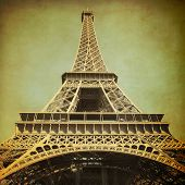 View of Eiffel Tower.Grunge style photo.
