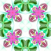 Symmetrical Pattern Of The Flower Petals. Green And Purple Palette. Computer Generated Graphics.
