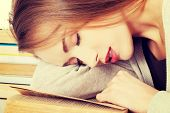 Beautiful woman is sleeping on a book. Student and education concept.