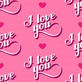 vector seamless pattern of handwritten I love you retro labels.