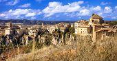 medieval Cuenca, town on rocks, Spain