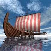 stock photo of viking ship  - Drakkar or viking ship floating on the ocean  - JPG