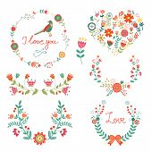 Elegant  floral graphic elements