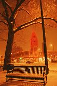 snowfall on the plaza, Kansas City, Mo. with the plaza lights, and bench