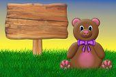 Teddy Bear With A Blank Sign