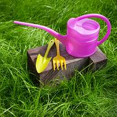 Garden Tools On Green Grass
