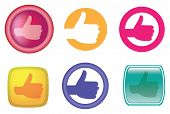 Hands With Thumb Up Gesture Web Icons And Buttons